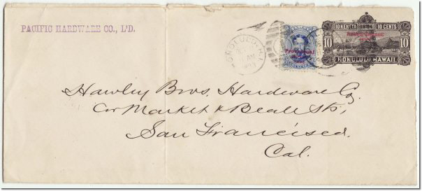 A 10 Stamped Postal Envelope Mailed To San Francisco On October 11 1893 Also Franked With 5 Ultramarine Postage Stamp Overprinted Provisional Govt
